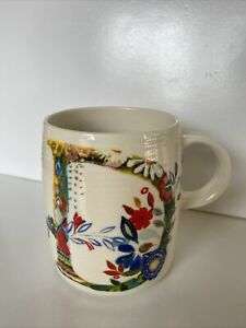 Anthropologie Starla M Halfmann Monogram Letter D Petal Palette Coffee Mug Cup