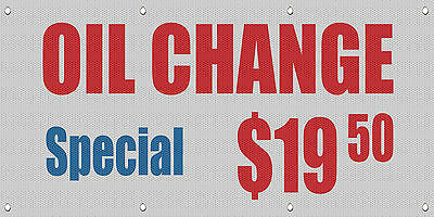 Oil Change Special $19.95 Advertisement MESH Windproof Fence Banner Sign