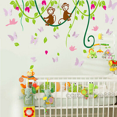 Huge Monkey Jungle Tree 3D Butterfly Wall Stickers Art Decal Girl Boy Kids Room