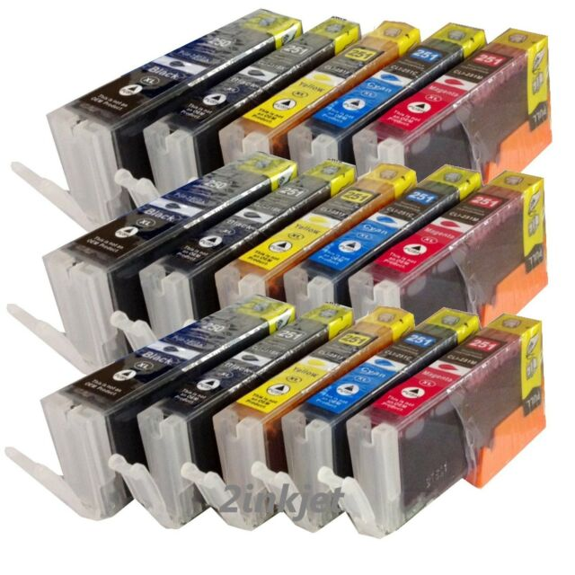 15 Pack New PGI-250XL CLI-251XL Ink w/chip For Canon Pixma MG5420 MG6320