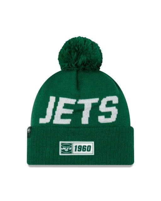 New Era NFL New York Jets Vert Pompon 2019/2020 Sport Knit Sideline Bonnet