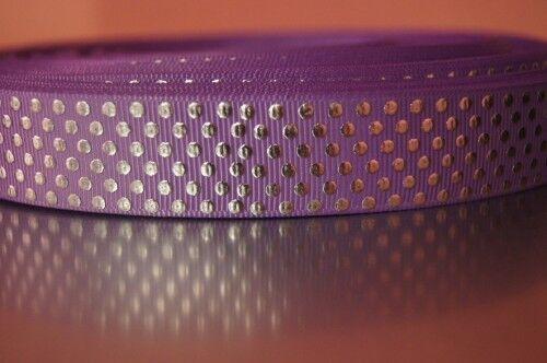 Webband 2714 Silbermetallic Punkte auf Flieder 22mm Breite Ripsband Borte