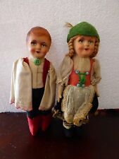 Gorgeous Pair Antique Hungarian Straw Stuffed /Felt/Costumed Ethnic Dolls  9""