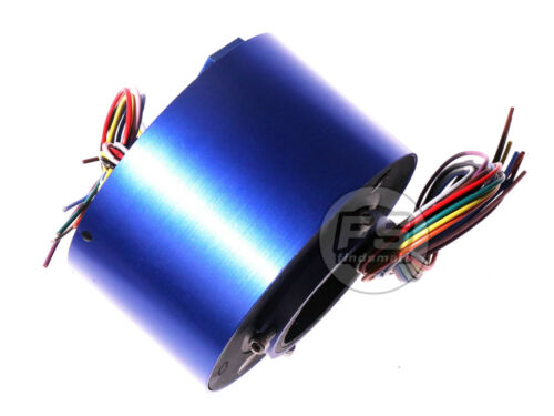 NEW 12Wires 380V AC/DC 10A 50MM Dia Metal Capsule Conductors Slip Ring Blue