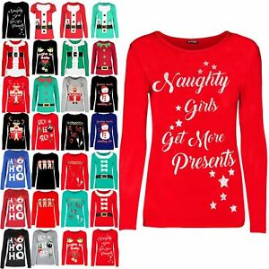 41a66ca67a8 New Womens Xmas Christmas Naughty Girls Get More Presents Tee Ladies ...