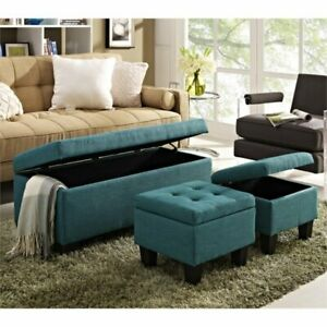 Miraculous Details About Picket House Furnishings Everett 3 Piece Storage Ottoman Set In Teal Short Links Chair Design For Home Short Linksinfo