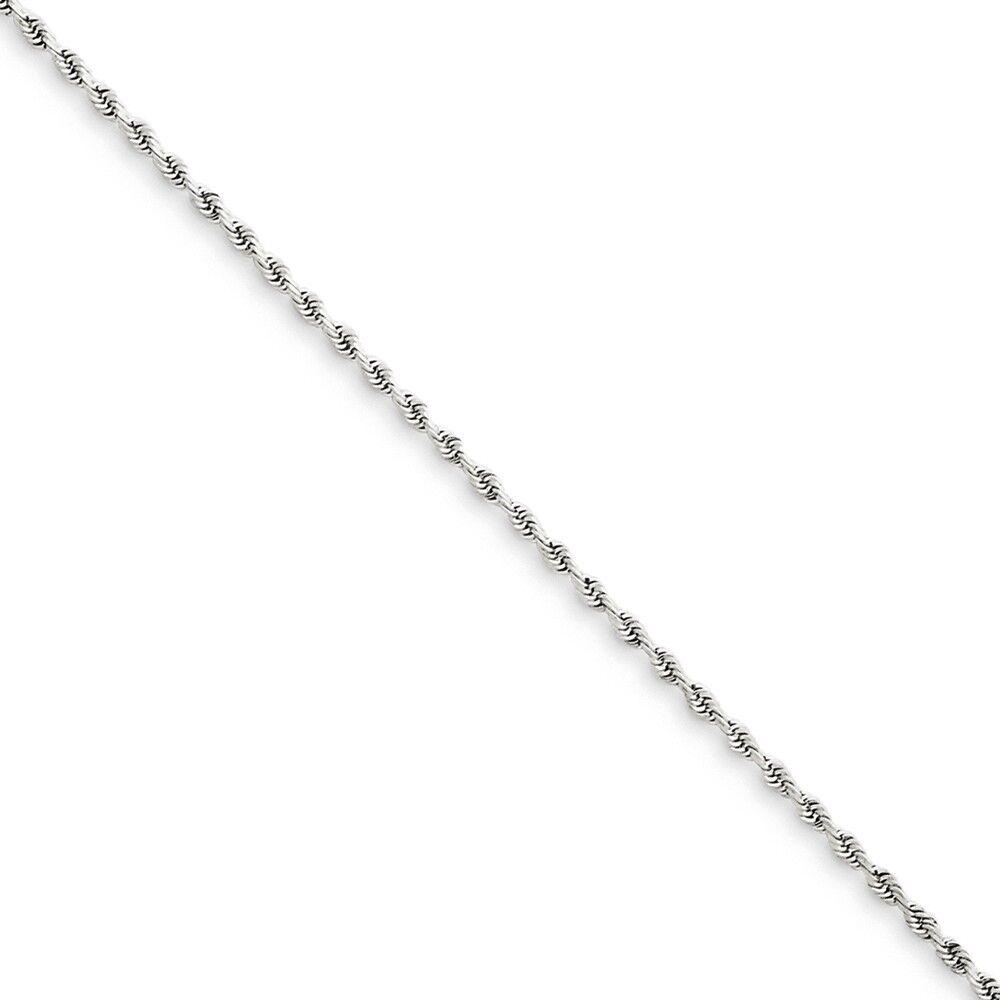 14k White gold 1.5mm Diamond-Cut Rope Chain Bracelet 6 Inch