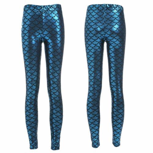 Women Mermaid Fish Scale Skinny Stretch Slim Pants Fashion Leggings Plus Sized