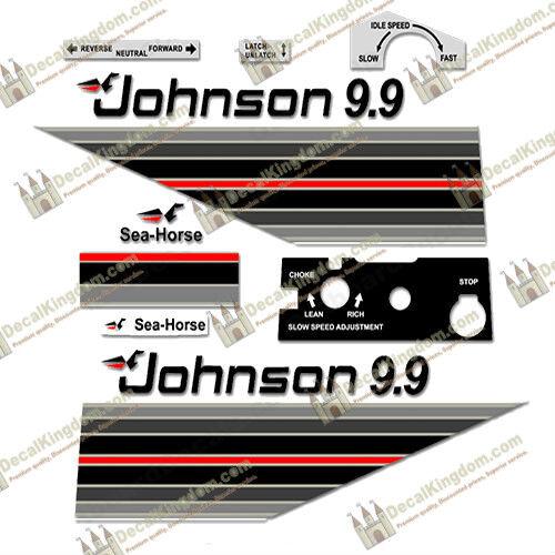 Johnson Johnson Johnson Motore Fuoribordo 1982 VINTAGE Decalcouomoie più stili 3M Marine Grade 5b8