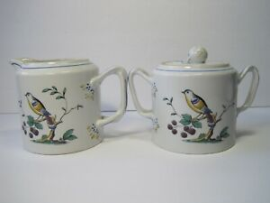 Vintage-Spode-Queen-039-s-Bird-Sugar-Pot-With-Lid-And-Creamer