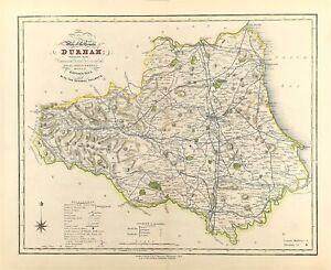 Antico Mappa Di Durham Città, gentiluomo CASE ELEZIONI sondaggio Reform BILL c1833