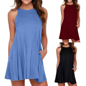 Women-039-s-Brief-Casual-O-Neck-Swing-Sleeveless-Pocket-T-Shirt-Camis-Dress-Sundress