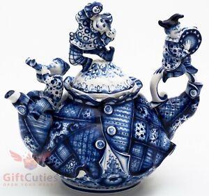 Gzhel porcelain Teapot Harlequin Buffoons Puppet Theater handmade 1.4 Litters