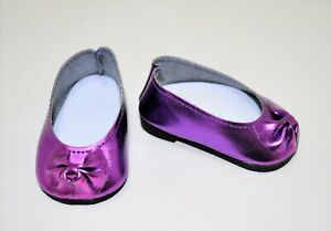 Fits-American-Girl-Doll-Our-Generation-18-034-Dolls-Shoes-Purple-Metallic-Slip-On