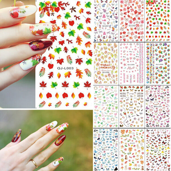 Nail Art Decoration Acrylic Water Transfer Manicure Tips Decal Sticker 12 Styles