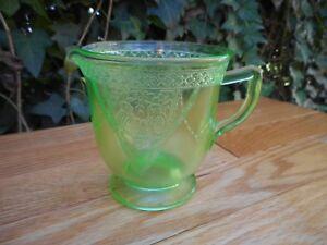 Vintage URANIUM VASELINE Green Glass Etched Birds Creamer ...