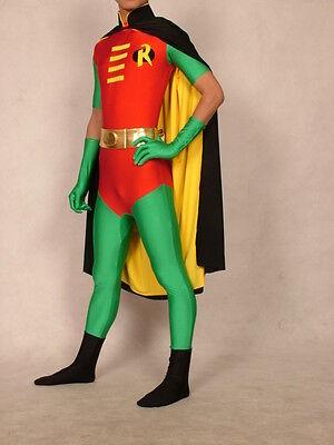Halloween Lycra spandex cosplay wrestling superhero black robin Costume S--XXL