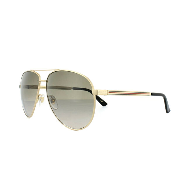 5609c380ec6 Gucci Gg0137s 001 Brown Gold Aviator Style Authentic Sunglasses for ...