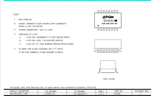 2X H1102NL Transformers Audio /& Signal SMD NonPoE 350uH .65Ohms 1-Port