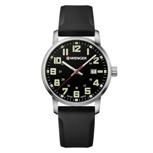 Wenger 01.1641.110 Men's Avenue Black Dial Black Silicone Strap Watch