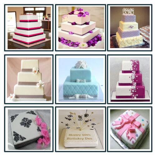 "4 TIER CHRISTMAS SQUARE WEDDING CAKE TINS 6/""  8/"" 10/"" 12/"""