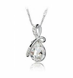 Details About Fashion Eternal Love Angel Teardrop Crystal Pendant Necklace Gift Box