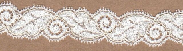 Ivory Leavers Stretch Lace Trimming 5mts 2.5cm Wide