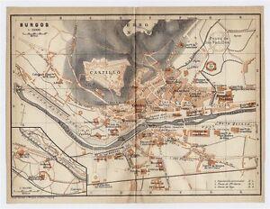 Mapa De Burgos Ciudad.1913 Mapa Original Antiguo De La Ciudad De Burgos Castilla