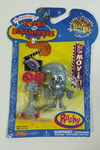 NEW NIP ROCKY BULLWINKLE MICRO BENDEMS Movie Figure Justoys