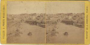 Biarritz Foto J.Andrieu Stereo Vintage Albumina Ca 1870