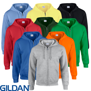 Details about Gildan MEN'S ZIPPED HOODIE FULL ZIP SWEATSHIRT HOOD PLAIN HEAVY BLEND NEON S 5XL