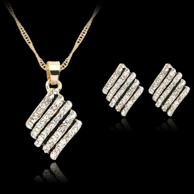 Women Crystal Gold Plated Diamond Pendant Necklace Earrings Wedding Jewelry Set