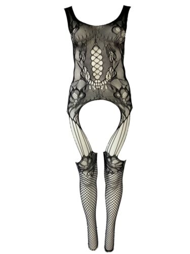Killer Legs Plus Size Fishnet Sheer Jacquard Lace Scoop Neck Body Stockings