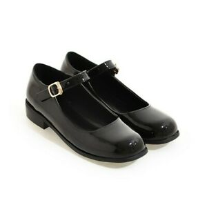 New-Women-Mary-Jane-Pumps-Chunky-Heels-Round-Toe-Ankle-Buckle-Strap-Casual-Shoes