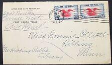 US Airmail Envelope Fort Worth Patriotic Eagle Pair 6c USA Lupo Brief (H-10950