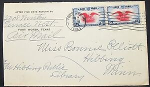 US-Airmail-Envelope-Fort-Worth-Patriotic-Eagle-Pair-6c-USA-Lupo-Letter-H-10950
