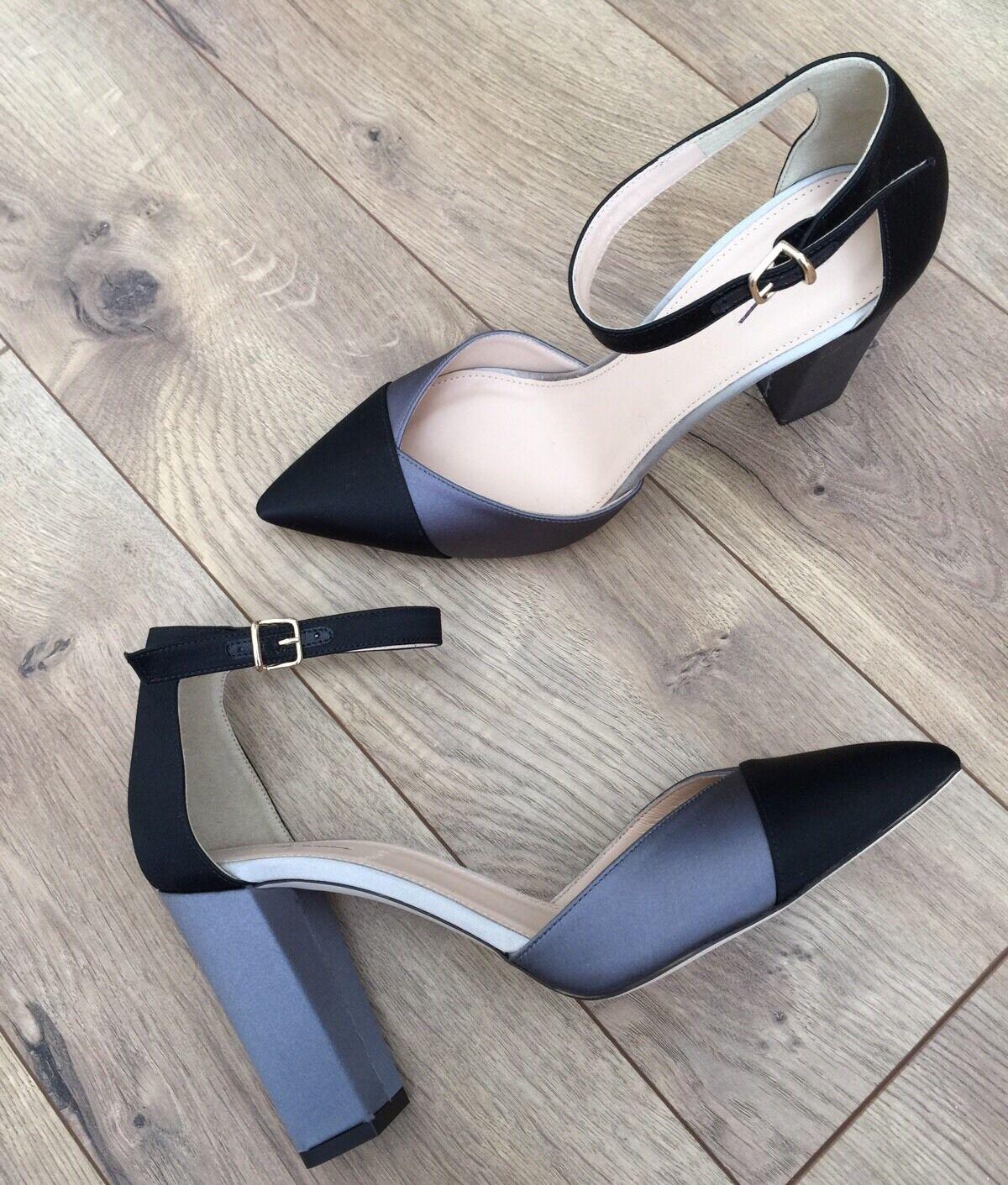 vendita all'ingrosso JCrew  258 Satin Coloreblock Pumps Sz 9 nero nero nero F8006 grigio Block Heels NEW  il più alla moda