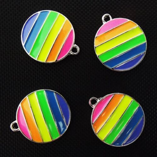 Mixed Silver Plated Enamel Pendant Charms Mod Flag Wicca