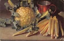 "Artistic, Still Life ""Oilette"" Cauliflower, Cup, string beans"