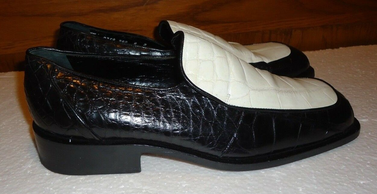 MAURI COUTURE COLLECTION BY CHAVONALTO GENUINE ALLIGATOR BLK OXFORD SHOES SZ 8M