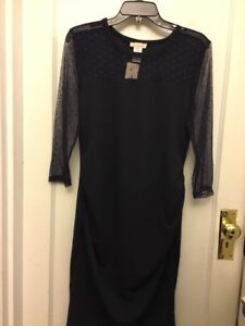 dd85a328db46c NWT Coming Soon Maternity dress in Navy with lace sleeves size L | eBay