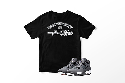 70e3eae8081b6 University Of Hard Knocks Graphic T-Shirt To Match Jordan 4 Retro Cool Grey  | eBay