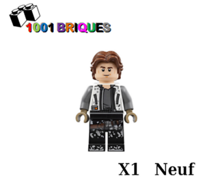 White Jacket Lego sw0915 x1 Star wars Han Solo Black Legs with Dirt Stains