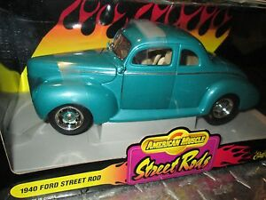 1940-Ford-Coupe-Rue-Barres-Vert-Americain-Muscle-Ertl