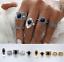 5pcs-Vintage-Antique-Natural-Black-Stone-Finger-Rings-Fashion-Girls-Ring-Sets miniatura 1