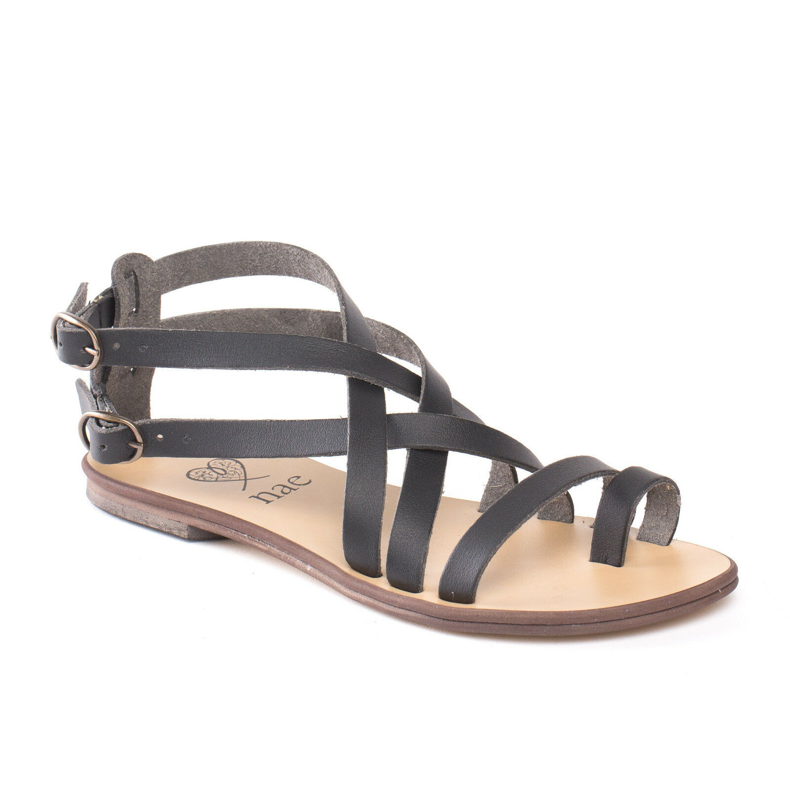 Woman vegan flat Sandalee strapped with metal buckle gladiator ecological
