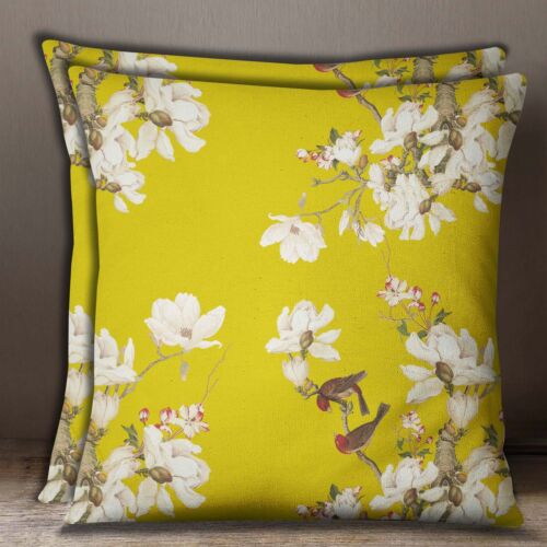 Mustard Yellow Floral /& Bird Pillow Case Cotton Poplin 1 Pair Square Cushion