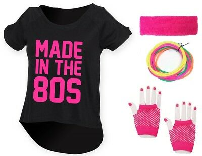 MADE IN THE 80s Ladies Drop Tail Top 8-18 80/'s Outfit Fancy Dress Costume Neon