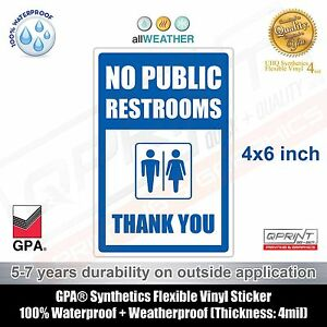 Blue No Public Restrooms Restroom For Customers Only Store Business Sign Ebay