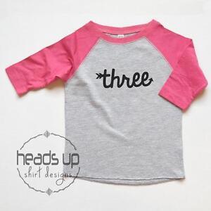 Image Is Loading Three Cursive Birthday Shirt Toddler Girl Or Boy